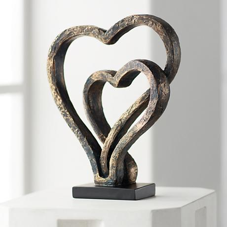 "Interlocking Hearts 11 3/4"" High Bronze Sculpture"