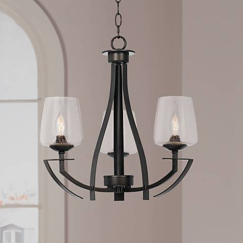"Perry Collection 20"" Wide Black Iron Chandelier"