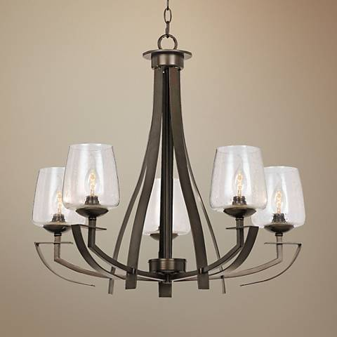 "Perry Collection 27"" Wide Dark Bronze Chandelier"