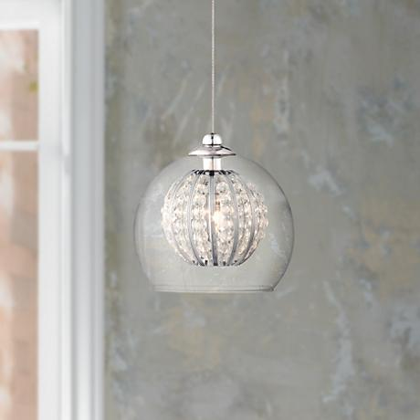"Possini Euro Onida 4 1/4"" Wide Clear Crystal Glass Pendant"