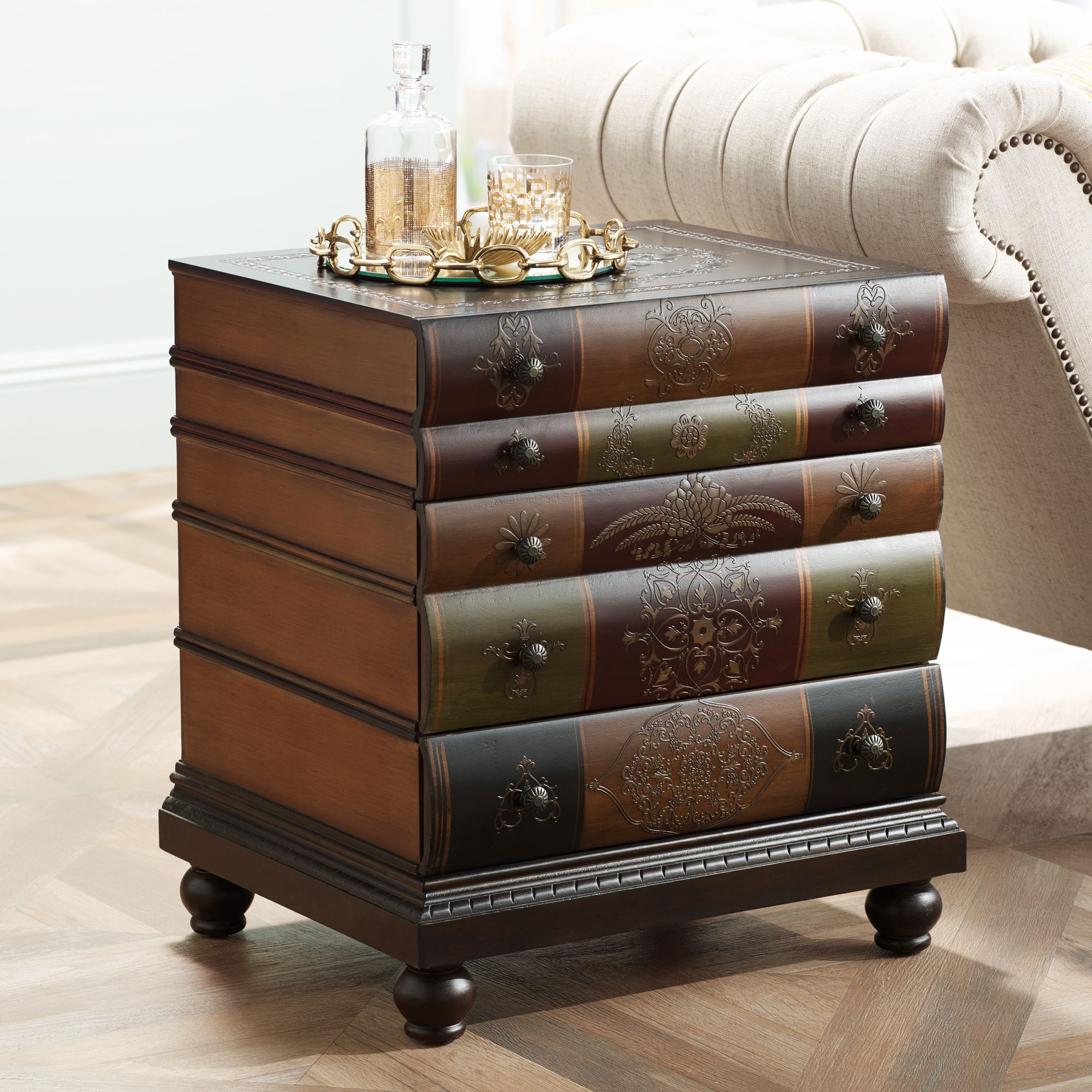 Crestview Collection Library 3 Drawer End Table
