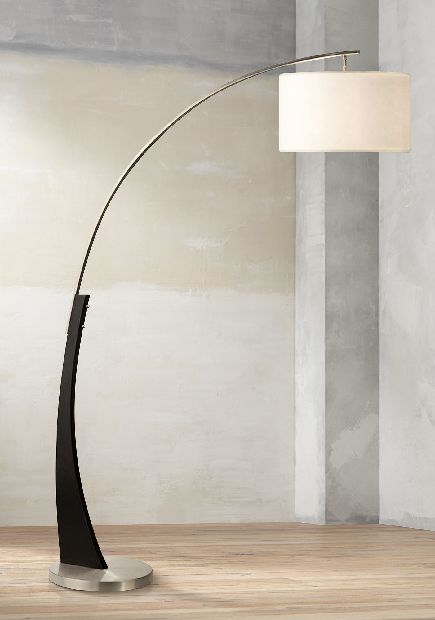 nova portman brushed nickel arc floor lamp - Arc Floor Lamps