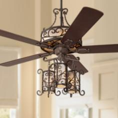 "60"" John Timberland Seville Iron Ceiling Fan With Remote"
