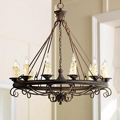 Round Rustic Chandeliers rustic - lodge, lighting fixtures | lamps plus
