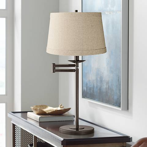 Natural Linen Drum Shade Bronze Swing Arm Desk Lamp