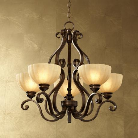 Iron Scroll Golden Bronze Five-Light Chandelier