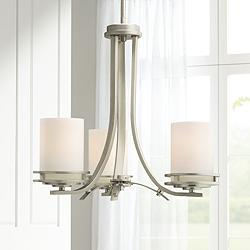 "Hendrik Nickel Finish 19"" Wide 3-Light Chandelier by Kichler"
