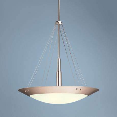 Contemporary Brushed Nickel Three Light Pendant Chandelier