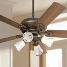 "52"" Casa Trilogy™ Frosted Glass Bronze Ceiling Fan"