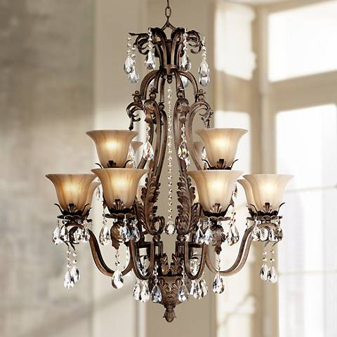 Iron Leaf 34 Wide Bronze and Crystal 12Light Chandelier 44422 – Bronze Chandelier with Crystals