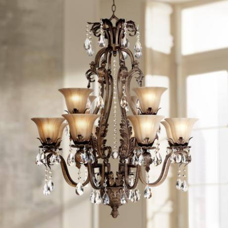 Iron leaf 34 wide bronze and crystal 12 light chandelier 44422 lamps plus - Chandeliers on sale online ...