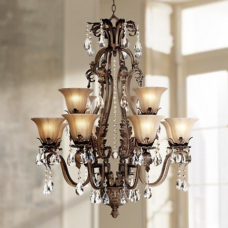 Iron Leaf 34 Quot Wide Bronze And Crystal 12 Light Chandelier