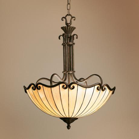 Art Nouveau Tiffany-Style Bowl Chandelier