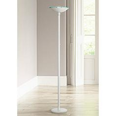 Crockett White Halogen 150 Watt Torchiere Floor Lamp