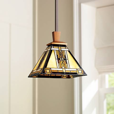 "Walnut Mission Collection 8 1/2""W Antique Brass Mini Pendant"