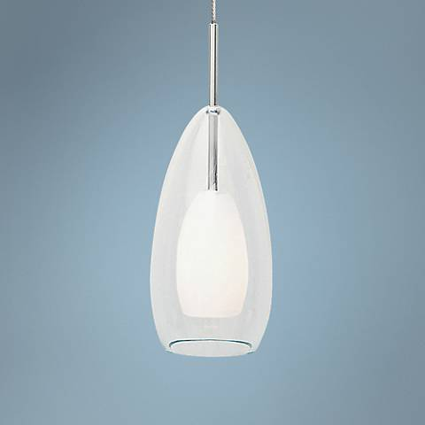 "LBL Tear-Si Coax FSJ 4"" Wide Clear Glass Mini Pendant"