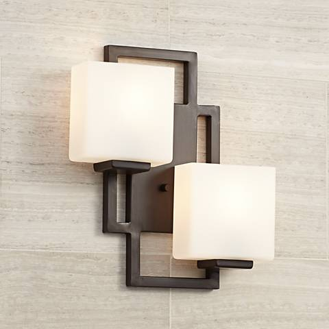 on the square bronze 15 1 2 high wall sconce 47342 lamps plus. Black Bedroom Furniture Sets. Home Design Ideas