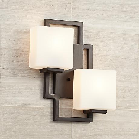 "Lighting on the Square Bronze 15 1/2"" High Wall Sconce"