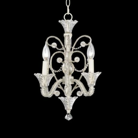 Four Light  White Beaded Mini  Chandelier