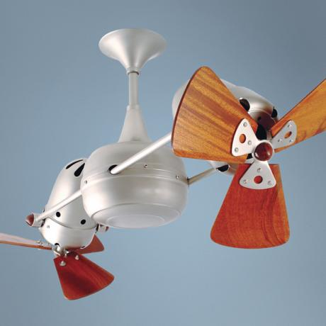 "36"" Duplo Dinamico Brushed Nickel and Wood Ceiling Fan"