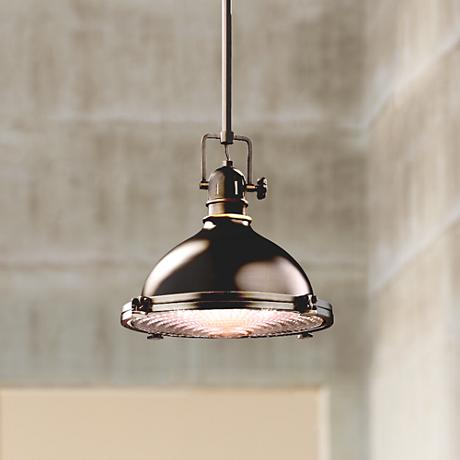 "Kichler Olde Bronze Fresnel Lens 12"" Wide Pendant Light"