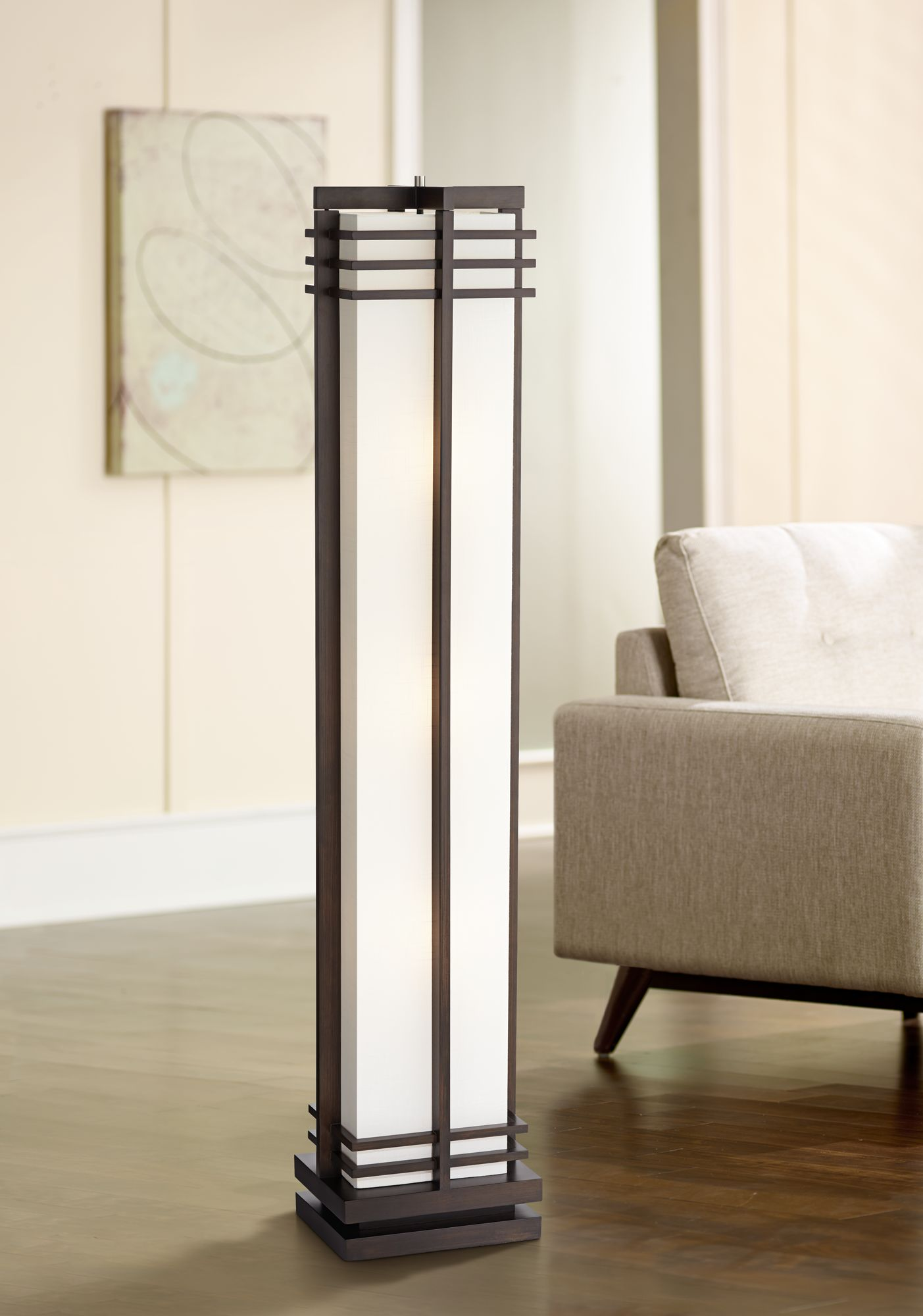 Possini Euro Design Deco Style Walnut Column Floor Lamp