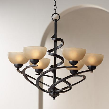 Franklin Iron Works Oil Rubbed Bronze Ribbon Chandelier