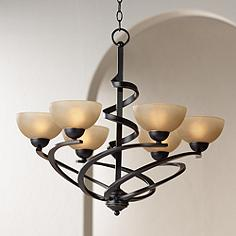 Franklin Iron Works 27 1 2 W Dark Mocha Ribbon Chandelier