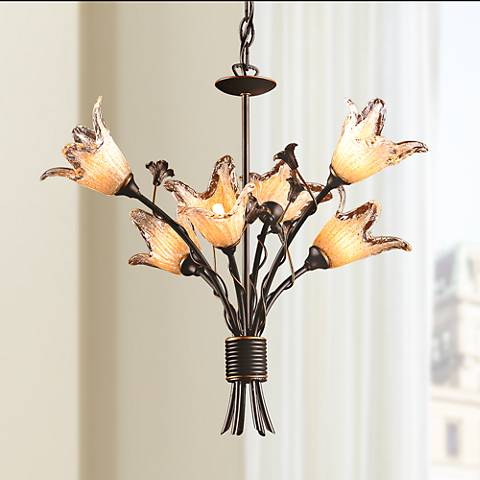 Fioritura Collection Six Light Tulip Glass Chandelier
