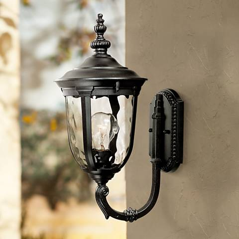 "Bellagio 16 1/2"" High Upbridge Arm Black Outdoor Wall Light"