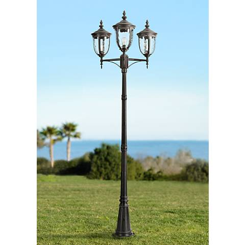 "Bellagio™ 96""H Black Outdoor 3-Light Street Lantern"