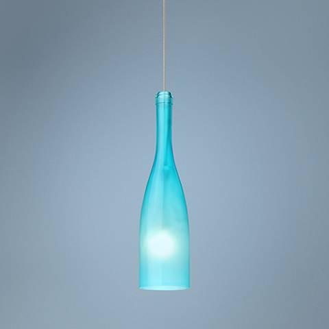 "Besa Botella 3"" Wide Blue-Frost Mini Pendant"