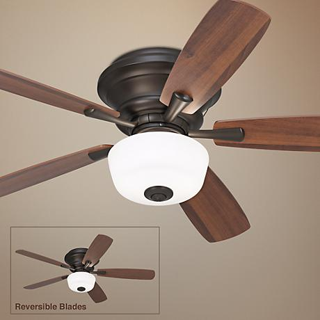 "52"" Casa San Marin Frosted Glass Bronze Hugger Ceiling Fan"