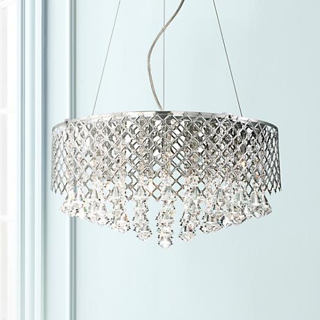 "Possini Euro Criss Cross 22"" Wide Clear Crystal Pendant"
