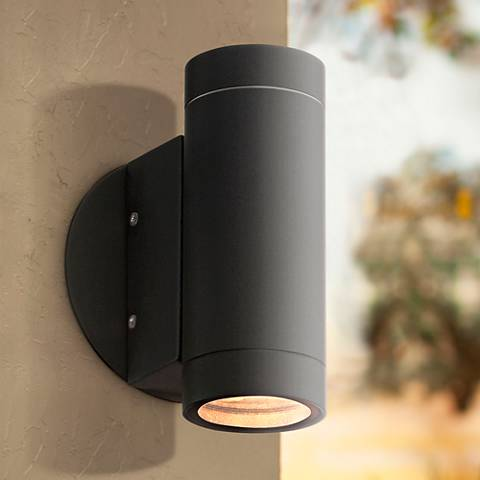 Possini Euro Matte Black Up and Down Wall Light
