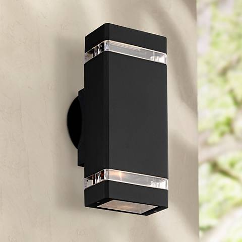 Possini Euro Rectangular Black Up Down Outdoor Wall Light