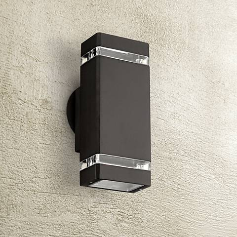Possini euro rectangular bronze up down outdoor wall light for Exterior up down wall light