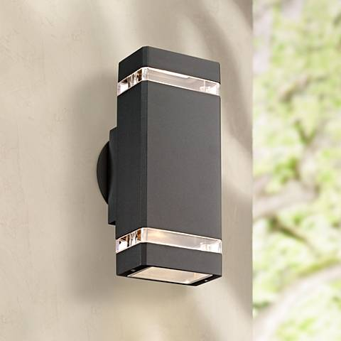 Possini Euro Rectangular Graphite Up/Down Outdoor Wall Light