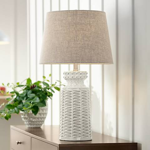 helene white ceramic table lamp 4d527 lamps plus. Black Bedroom Furniture Sets. Home Design Ideas