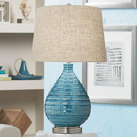 Kayley Blue Ceramic Table Lamp 4d593 Lamps Plus