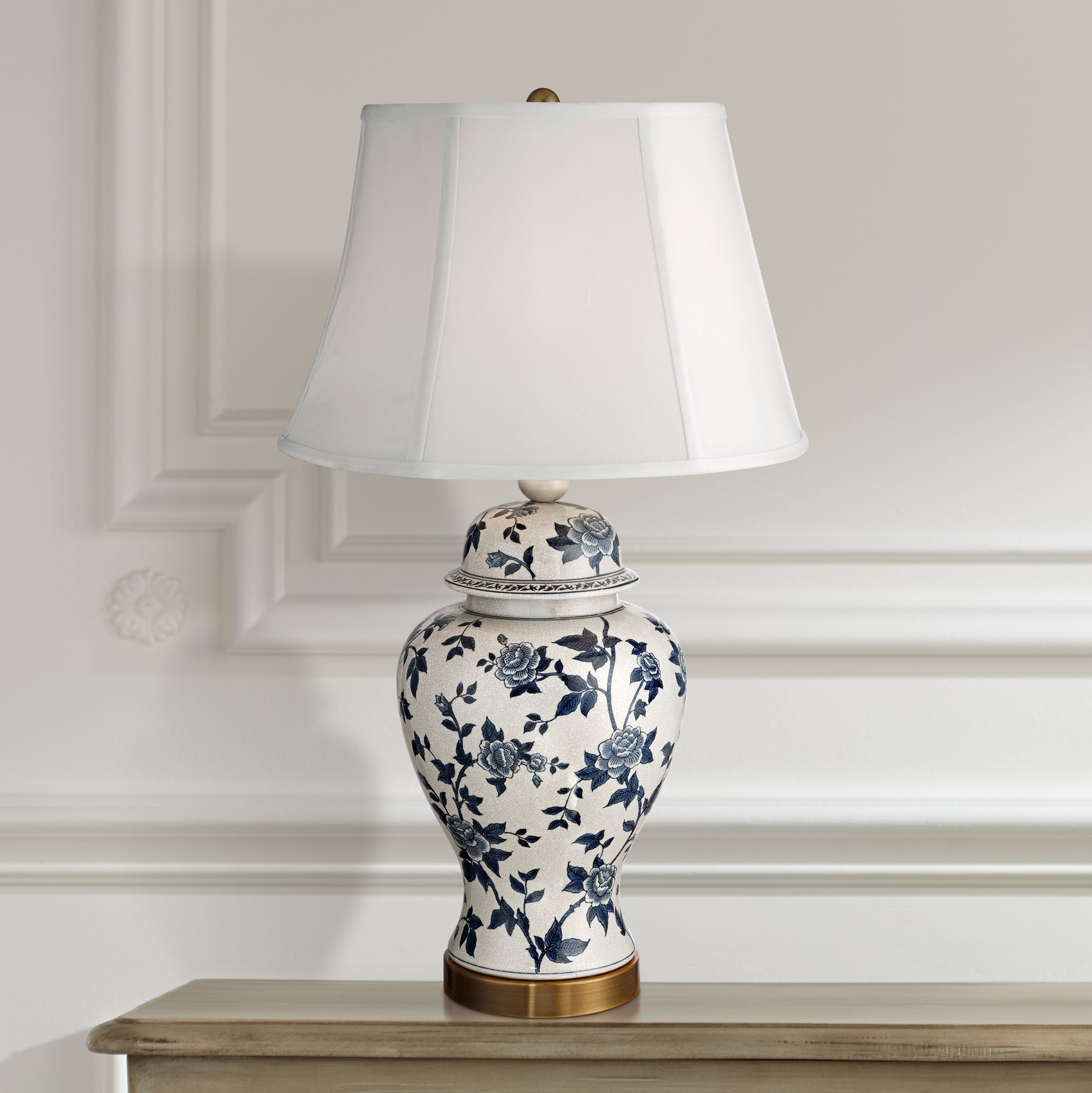 Rose Vine Blue and White Temple Jar Table Lamp - #4D609 | Lamps Plus