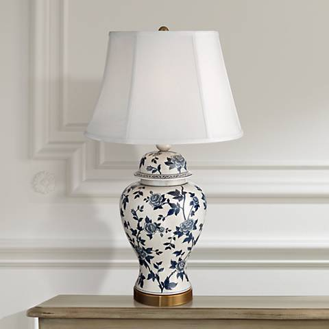 Rose Vine Blue and White Temple Jar Table Lamp