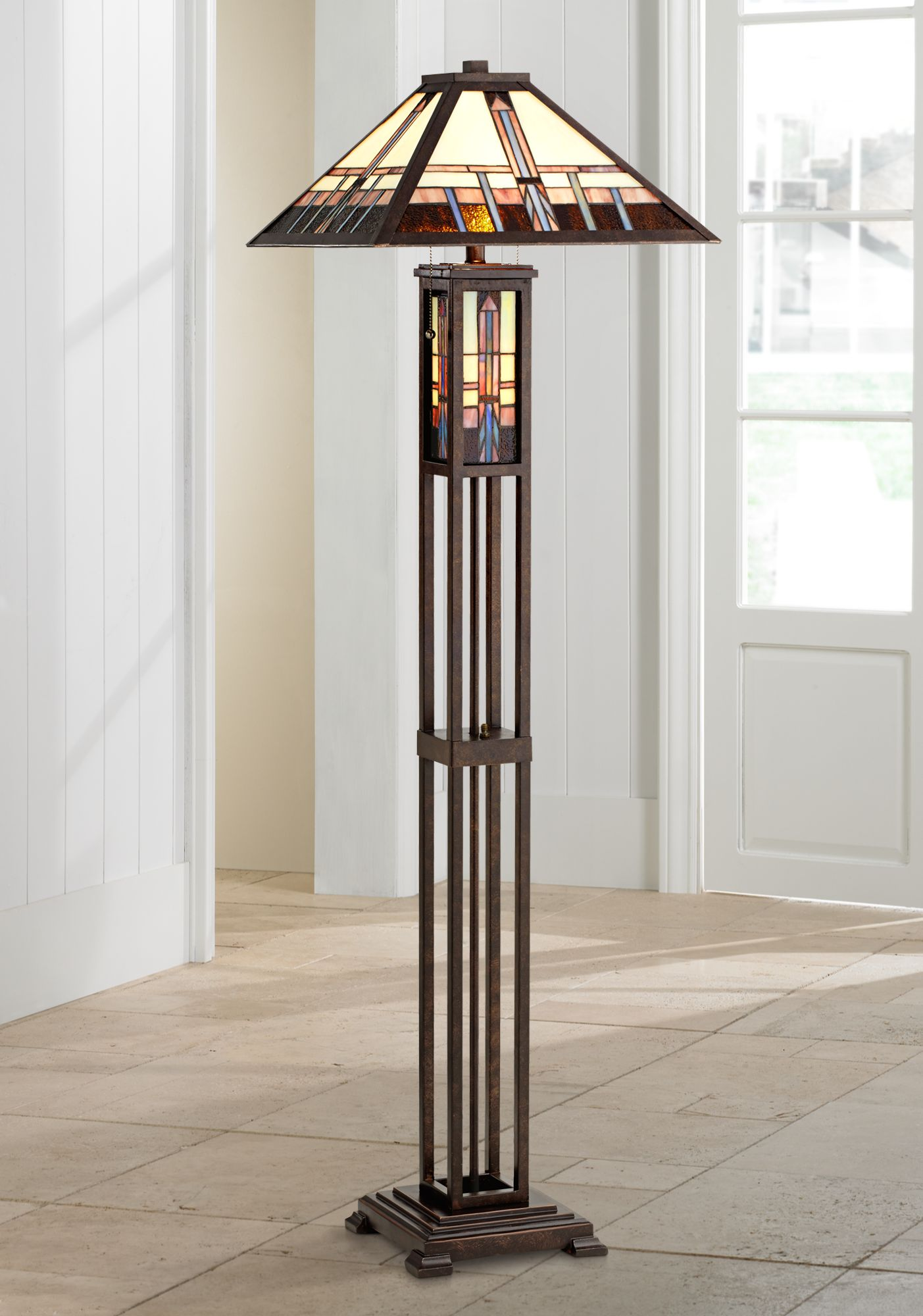 geometric art glass mission floor lamp with night