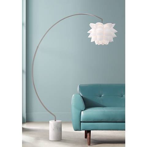 Possini Euro White Flower Arc Floor Lamp