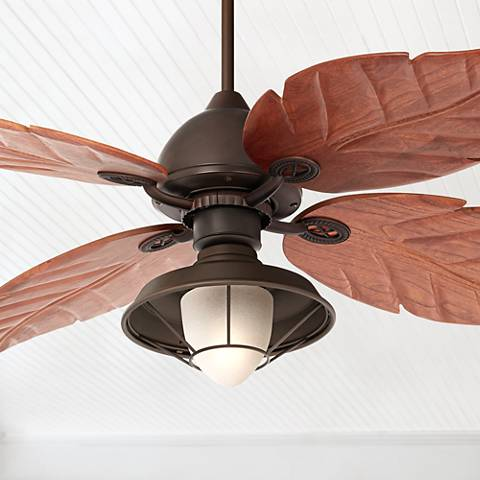 "60"" Casa Oak Creek Frosted Glass Damp-Rated Ceiling Fan"