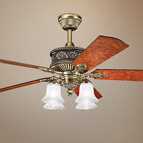 "52"" Kichler Corinth 4-Light Antique Brass Ceiling Fan"