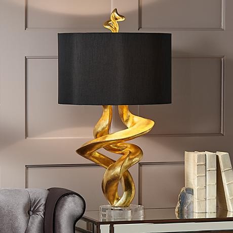 Kathy Ireland Tribal Impressions Gold Leaf Table Lamp