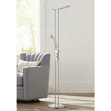 Possini Euro Design Vicina Chrome LED Torchiere Floor Lamp 4G433
