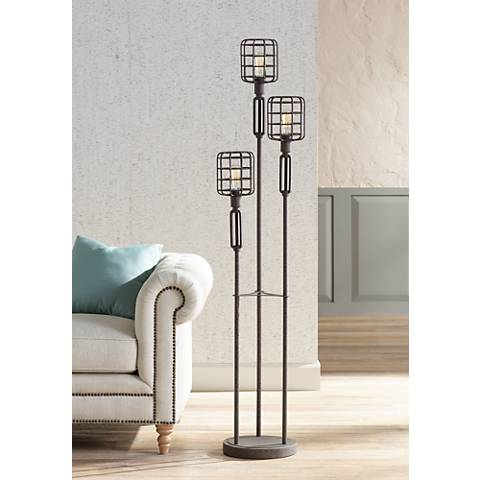 Industrial Cage Rust Metal Floor Lamp 4g486 Lamps Plus