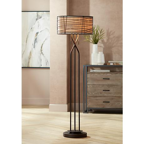 Franklin Iron Works™ Marlowe Woven Bronze Metal Floor Lamp